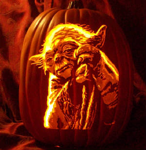 star wars yoda characters pumpkin carving pattern