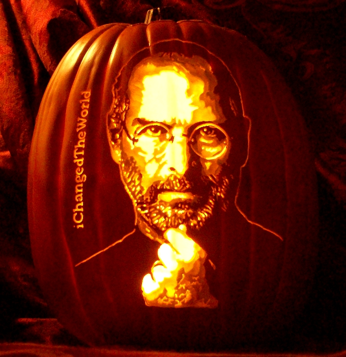 steve jobs pumpkin carving